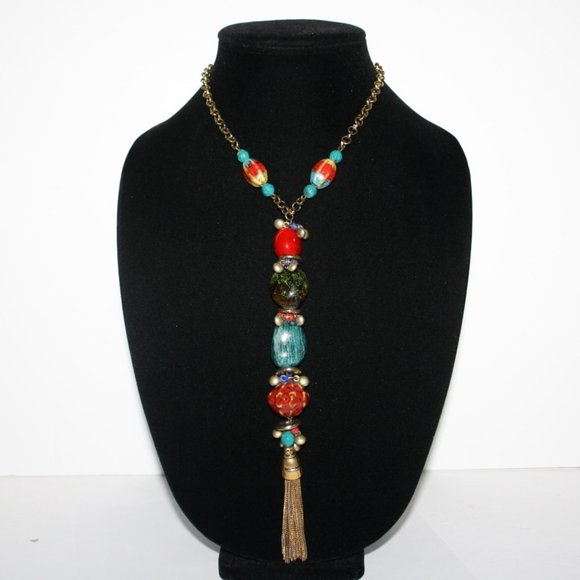 Beautiful bronze necklace with colorful beaded
